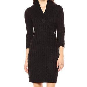 Calvin Klein Waffle Knit Black Sweater Dress L